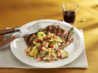 Grilled Pork Chops with Zucchini and Mushrooms recipe