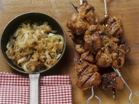 Grilled Pork Skewers with Caramelized Onions recipe