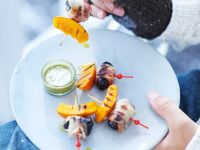 Grilled Pumpkin and Bacon-Wrapped Dried Plum Skewers recipe