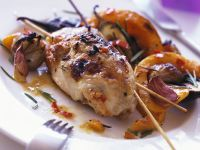 Grilled Quail with Roasted Vegetables recipe