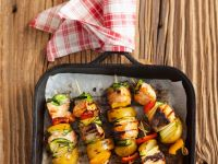 Grilled Salmon and Vegetable Skewers recipe