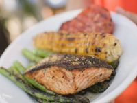 Grilled Salmon, Corn on the Cob and Mixed Vegetables recipe