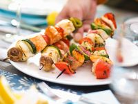 Grilled Salmon, Monkfish and Red Mullet Skewers recipe