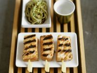 Grilled Salmon Skewers with Pasta recipe