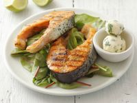 Grilled Salmon Steaks with Lime and Herbs recipe