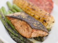 Grilled Salmon with Asparagus and Corn recipe