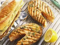 Grilled Salmon with Herb Butter and Garlic Bread recipe