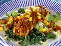 Grilled Salmon with Swiss Chard and Mango Salsa recipe