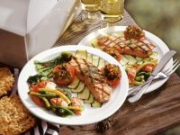 Grilled Salmon with Vegetables and Shrimp Salad recipe