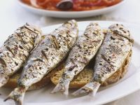Grilled Sardines with Tomato and Bell Pepper Salad recipe