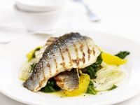 Grilled Sea Bass with Spinach and Orange recipe