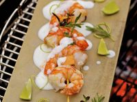 Grilled Shrimp and Melon Skewers with Lime Yogurt Sauce recipe