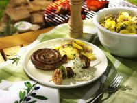 Grilled Skewers and Sausages with Potato Salad recipe