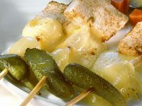 Grilled Skewers of Cheese and Bread recipe