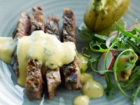 Grilled Steak with Bearnaise Sauce, Herbed Potatoes and Salad recipe