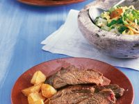 Grilled Steak with Potatoes recipe