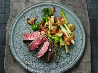 Grilled Steak with Stir-Fried Vegetables and Asian Noodles recipe