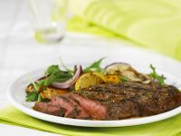 Grilled Steaks with Arugula and Orange Salad recipe