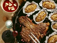 Grilled Steaks with Barbecue Sauce and Potatoes recipe