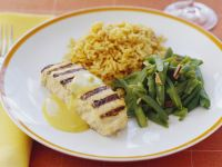 Grilled Swordfish with Green Beans and Rice recipe