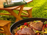 Grilled T-Bone Steaks with Bell Peppers recipe