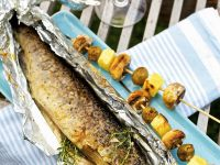 Grilled Trout with Potato and Mushroom Skewers recipe