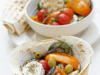 Grilled Vegetables and Goat Cheese with Whole-Wheat Tortillas recipe