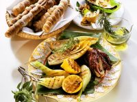 Grilled Vegetables with Bread Sticks recipe