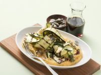 Grilled Zucchini Ribbons with Chickpea Puree recipe