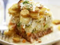 Ground Beef Casserole with Potatoes, Broccoli and Cauliflower recipe