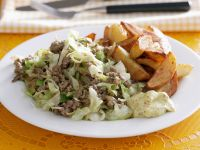 Ground Beef with Cabbage and Potato Wedges recipe