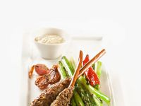 Ground Lamb Kebabs with Asparagus
