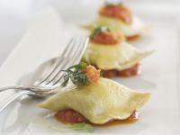 Ground Meat and Ham Ravioli with Tomato Sauce recipe