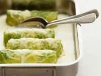 Ground Meat and Savoy Cabbage Rolls with Cheese Cream Sauce recipe