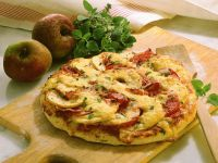 Ground Meat Pizza with Apples, Onions and Tomatoes recipe