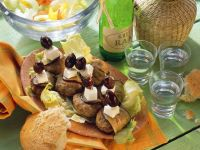 Ground Meat Skewers with Feta and Olives recipe