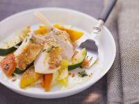 Guinea Fowl with Warm Peach Vegetable Salad recipe