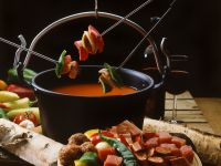 Spiced Tomato Soup with Kebabs recipe