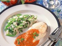 Haddock with Bell Pepper Sauce and Rice recipe