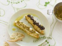 Halibut With Green And Black Olive Tapenade recipe
