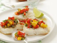 Halibut with Pepper and Caper Salsa