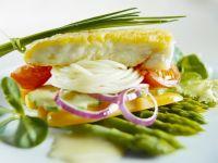 Halibut with Spaghetti and Asparagus recipe