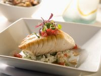 Halibut with Vegetable Risotto recipe