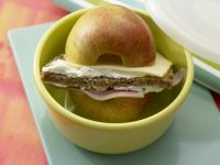 Ham and Apple Burger with Cheese recipe