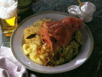Ham Hock with Sauerkraut and Mashed Peas