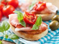 Ham on Baguette with Tomatoes and Basil recipe