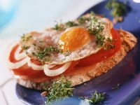 Ham Sandwich with Tomato and Fried Egg recipe