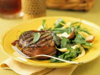 Ham Wrapped Filet Mignon with Bean and Pear Salad recipe
