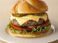 Hamburger with Cheese, Lettuce, and Gherkins recipe