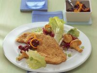 Hazelnut Breaded Turkey Cutlets with Salad and Mushrooms recipe